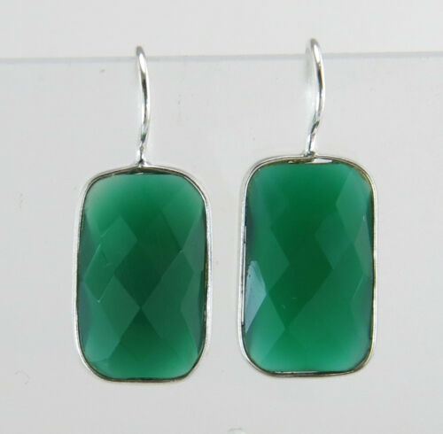 13.00ct Rose Cut Genuine Emerald White Gold 925 Silver Wire Drop Earrings 4.8g