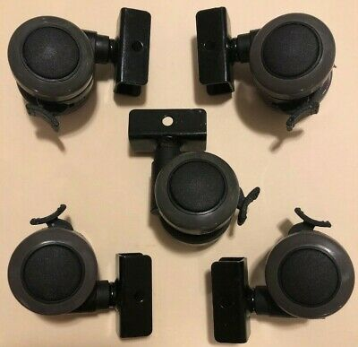 Set Of 5 Twin 1-12 Wheel Non Swivel Furniture Casters Wbrake U-bracket Mount