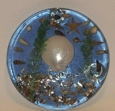 Vintage Unique Designs Resin Acyrlic Trivet Hot Plate Abalone Sea Shells Plants (Resin Seashells)