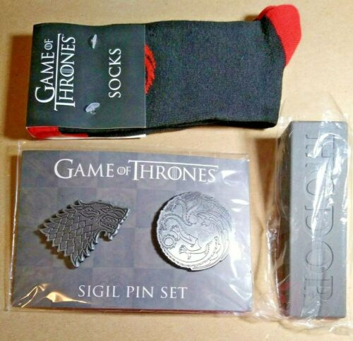 NEW GAME OF THRONES -SIGIL PIN SET - HODOR DOOR STOP - TARGARIAN SOCKS 3 pc lot