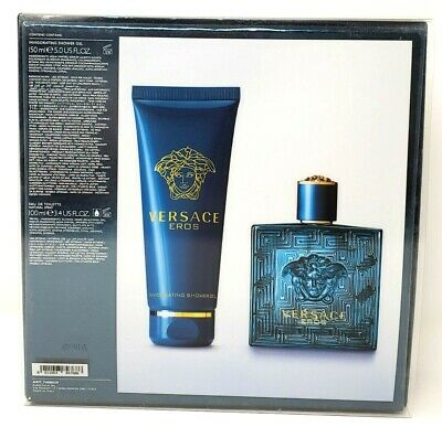 Versace Eros Cologne Gift Set for Men - 3.4 oz EDT Spray + 5 oz Shower Gel New