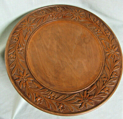 Swiss Black Forest Platter Carved Wood; Edleweiss; A/F Music box; Large 33cm