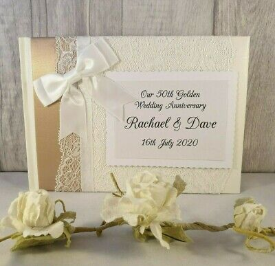 50th Anniversary Guest Book Personalized (Golden 50th Wedding Anniversary Personalised Guest)