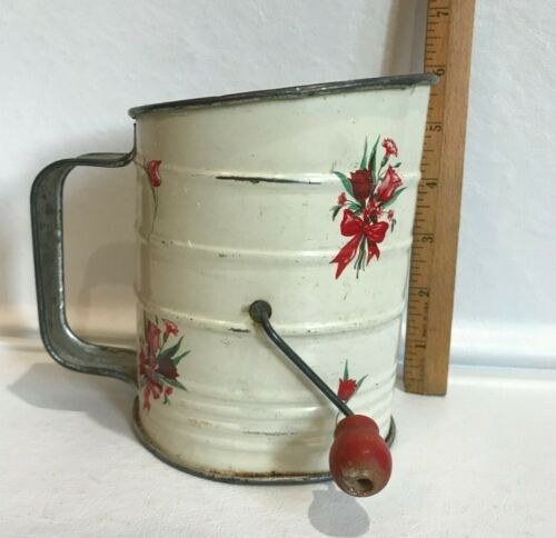 """Vintage Kitchen Flour SIFTER With Red Floral Bouquet ~ 5.5"""" High~Farmhouse"""