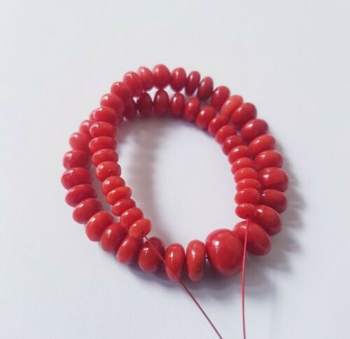 TOP QUALITY 100%Natural Italian Sea Red coral Rondelle Beads Undyed Coral Beads.