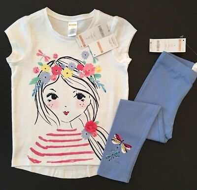 NWT Gymboree Girls Tee & Leggings Flower Girl Dragonfly Outfit 4 5 6 7 8 10