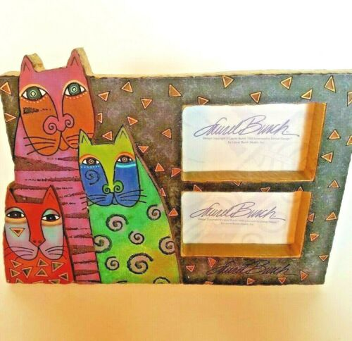 """Laurel Burch Mysticats Background Double Picture Frame Holds 2"""" x 3.5"""" Pictures"""