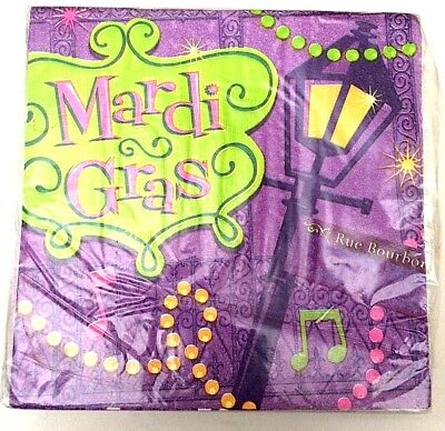 MARDI GRAS LUNCH NAPKINS Bourbon Street Theme Beads Party Decoration Supply 1-4C (Mardi Gras Party Theme)