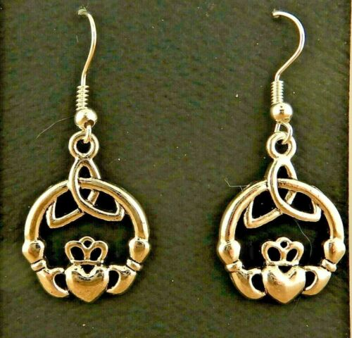 Silver plated Irish Claddagh Earrings with Celtic Trinity Knots