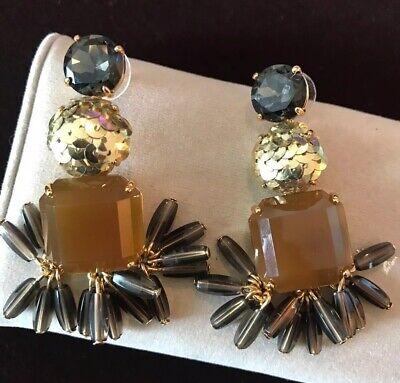 J. CREW BROWN GOLD DANGLE EARRINGS~EUC~RARE~Retail $89 Golden Brown Earring