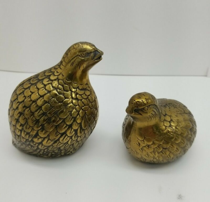 2 Vintage Brass Quail/Partridge Bird Family Figurines Paperweights/Home Decor