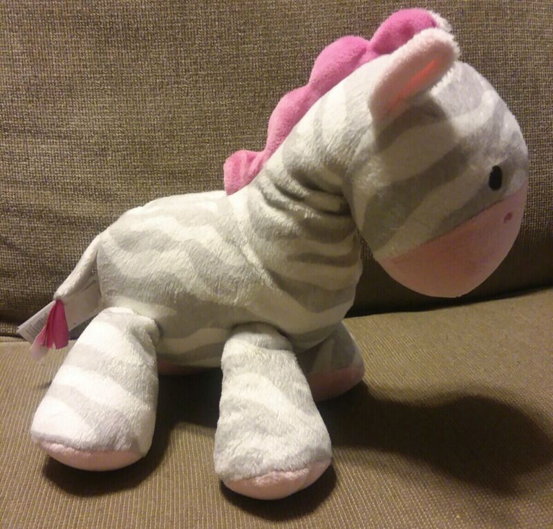 Carters ZEBRA Giraffe Wind-Up Musical Plush Gray Stripes Pink BRAHMS LULLABY