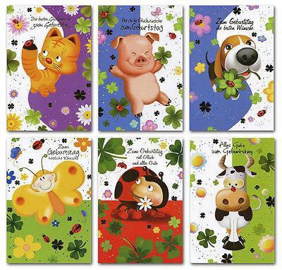 50/100 Geburtstagskarten Kinder Tiere Kleeblatt 6 Motive Grußkarten 51-3070 A
