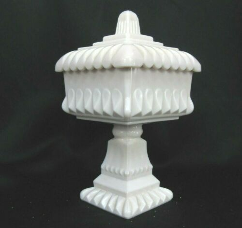 Jeannette Milk Glass Wedding Box Opaque Shell Pink Square Compote Lid Repaired
