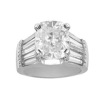 GIA Certificato Diamante Fidanzamento Anello Cuscino Taglio 18k Oro Bianco 6.40