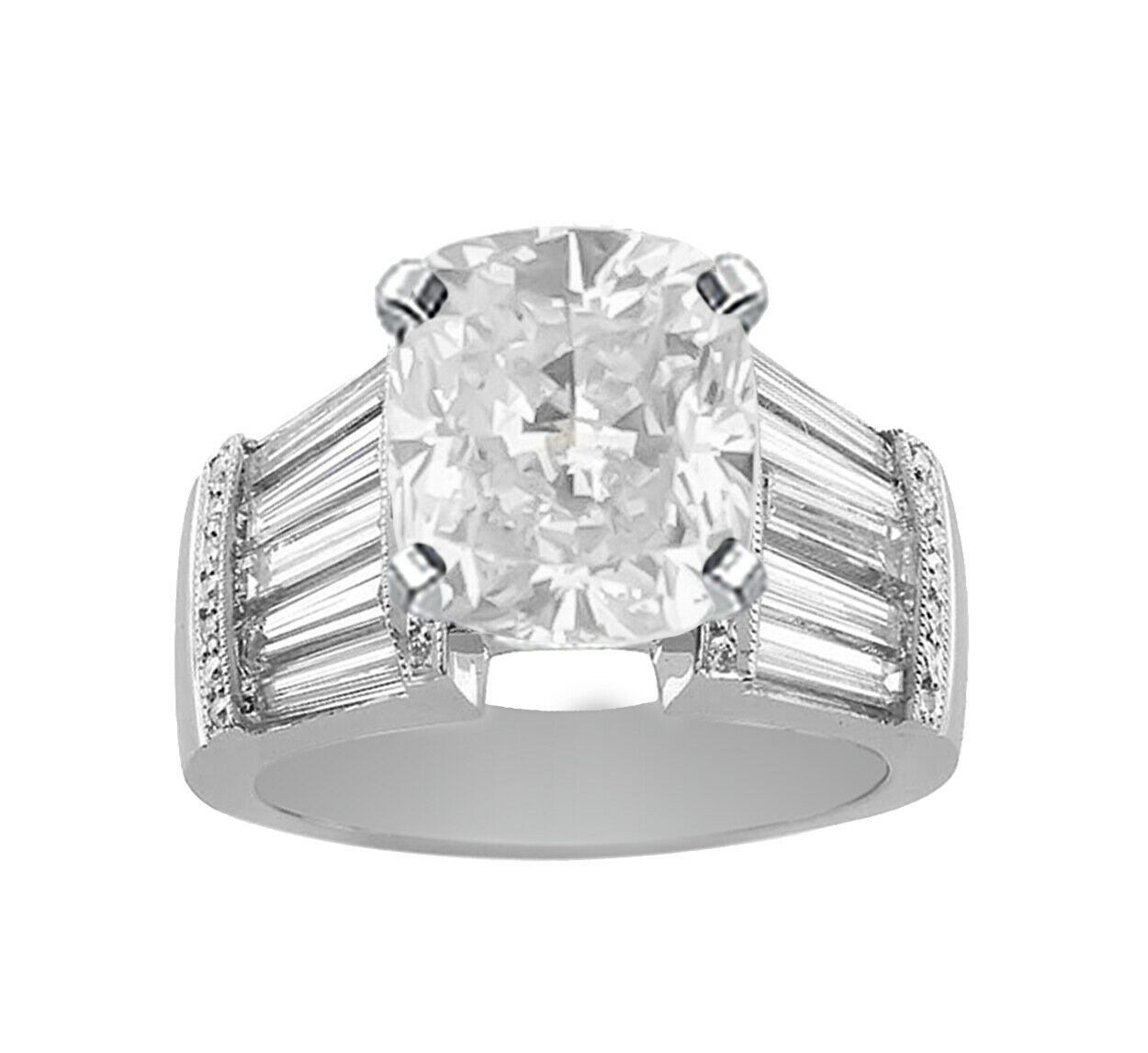GIA Certified Diamond Engagement Ring Cushion Cut 18k White Gold 3.40 carat