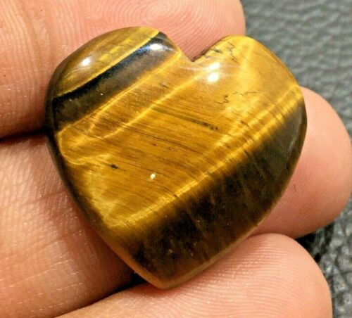 Yellow Tiger Eye Gemstone Cabochon Heart Shape Stone 33.6 Cts UPE-10