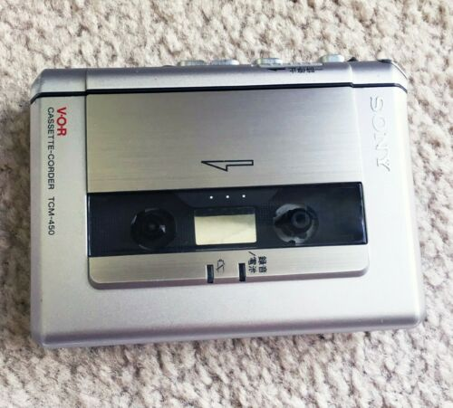 SONY TCM 450 Walkman Cassette Corder, Decent Silver Shape ! Tested & Working !!