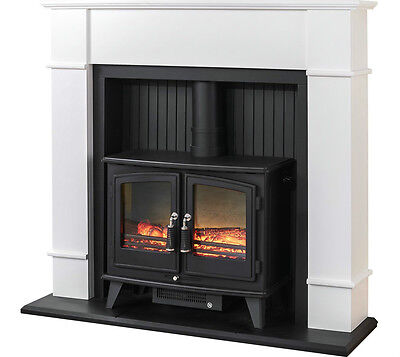 ELECTRIC BLACK STOVE WHITE MODERN SURROUND CHEAP FLAME LOG FIRE FIREPLACE SUITE