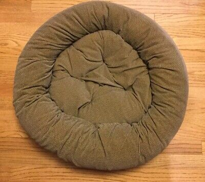 """Snoozer Dog Bed Pillow Nesting Style 26"""" Round - Brown Herringbone - Quality!"""