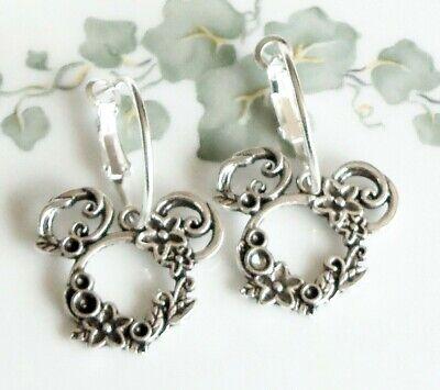 Minnie Mouse Ornate Silvery 25 mm Hoop Earrings handmade Disney Disney Hoop Earring