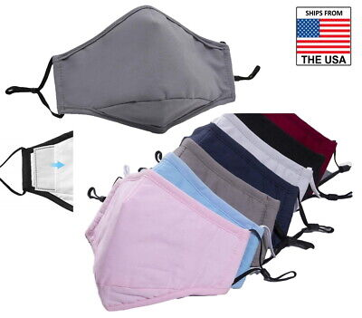 Face Mask With Filter Pocket Pm 2.5 Nose Wire Washable Reusable 100 Cotton Soft