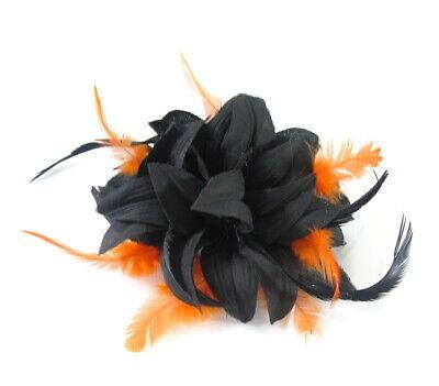 Tocado en Negro y Naranja Broche Adecuado para Bodas,Carreras,Graduación