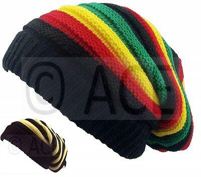 Bob Marley Jamaican Slouch Stripey Reggae Headgear Baggy Cap Rasta Beanie (Bob Marley Hat)