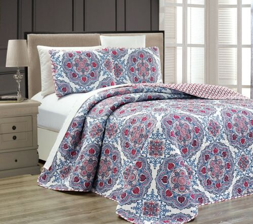 3pc Red Blue White Mandala Medallion Reversible Bedspread Co