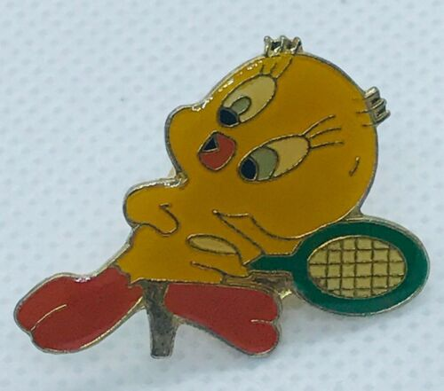 Vintage Warner Brothers Tweety Bird Playing Tennis Enamel Pin