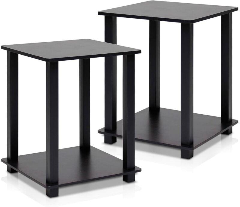 Furinno Simplistic End Table,Espresso/Black