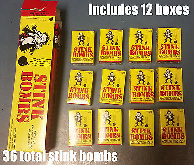 1 CASE of 36 Stink Bombs Funny Prank Joke Gag Gift Rotten Egg Nasty Smell Box