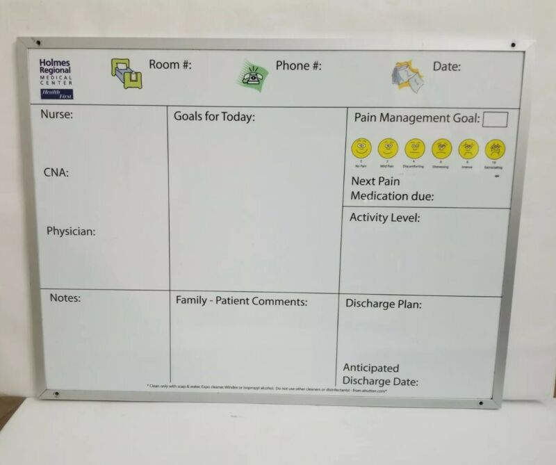 """Hospital Patient Magnetic  Whiteboard 18""""H x 24""""W Retired Holmes medical center"""