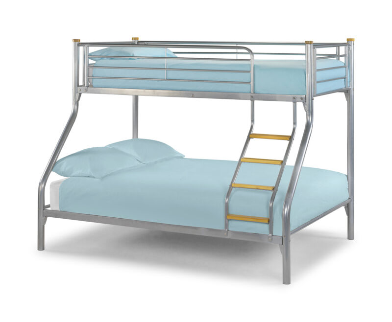 atlas aluminium triple sleeper bunk bed with single bed frame on top. Black Bedroom Furniture Sets. Home Design Ideas