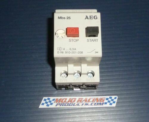 AEG MBS25-K Manual Motor Starter 4.-6.3A  E-Nr:910-201-208 Good Used $45ea