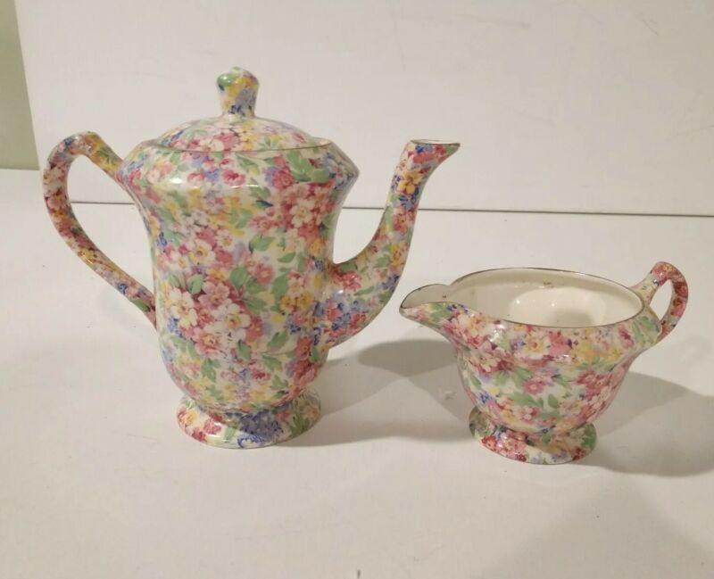 Rare Antique James Kent Teapot  & Creamer Apple Blossoms