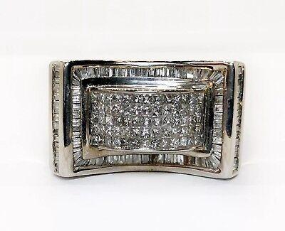 Mens Diamond Ring 14k White Gold Princess Cut Invisible Setting 4.16 Ct 25 Grams Diamond Invisible Mens Ring