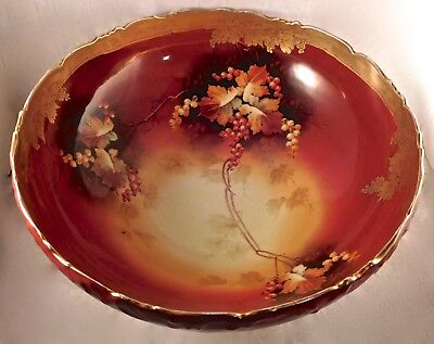 Pickard Art China Studio Hand Painted Autumn Currants Large Punch Bowl, J Vokral