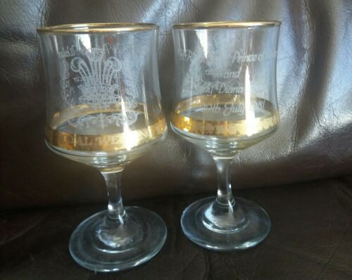 Charles and Diana Royal Wedding 1981 - 2 Commemorative Wine Glasses