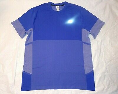 NEW BALANCE. Men's Running/Fitness Short Sleeve Blue Shirt XL Dri-Fit