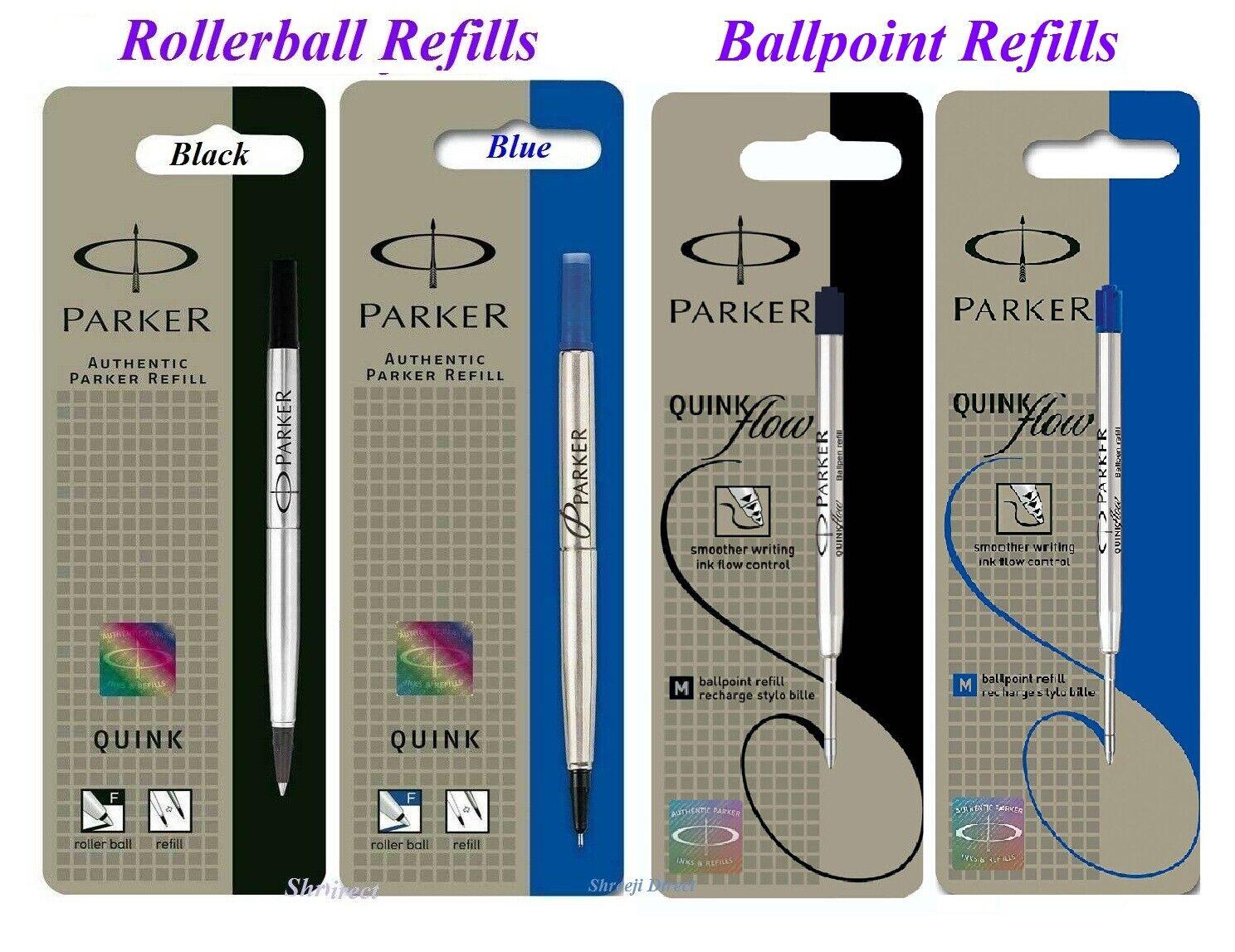 uk Genuine Parker Ballpoint Pen Refill Fine or Medium BLUE or BLACK