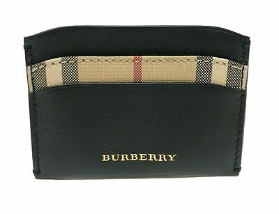 Burberry Men's Horseferry Check Izzy Black Leather Card Case Wallet Clothing, Shoes & Accessories