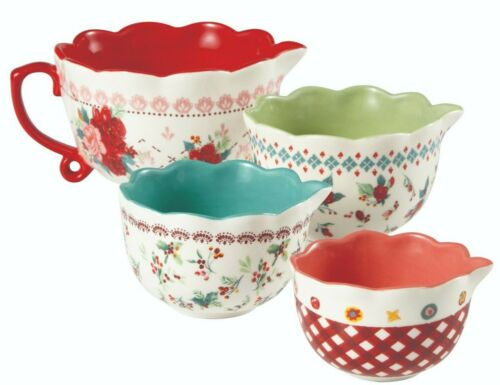 Pioneer Woman Stoneware Cheerful Rose 4 Piece Measuring Cup Set NEW Christmas