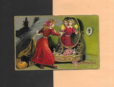 Lady's SUPERSTITION, WITCH'S SHADOW Colorful Vintage Unused HALLOWEEN Postcard