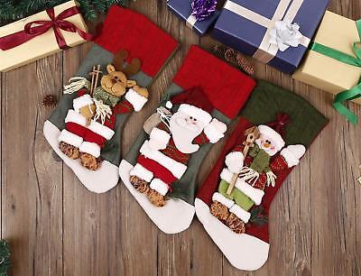 Set of 3 Stockings 18 in Classic Christmas Plaid Santa Snowman & Reindeer 3D Lot ()