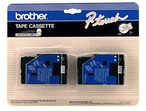 New Brother TC20 Black on White Tape 1/2