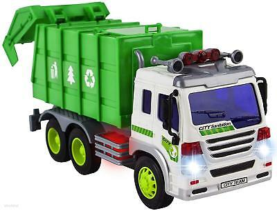 Friction Kids Garbage Truck Toy Recycle Vehicle Trash Can Bin Light & Sound Gift (Toy Garbage Cans)