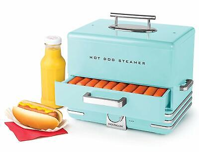Hot Dog Steamer Machine Electric Food Bun Warmer Cooker Aqua Blue Retro Vintage