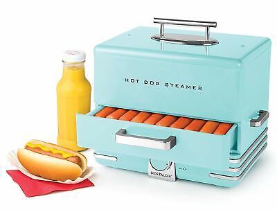 Hot Dog Steamer Machine Electric Food Bun Warmer Cooker Aqua Blue Retro Vintage