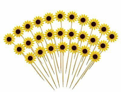 Sunflower Cake Decorations (Cake Cupcake Topper Picks Party Sunflower Decoration For Birthday Wedding)